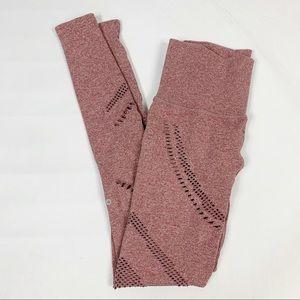 ALO Yoga Rose Pink Perforated Crop Leggings Sz S